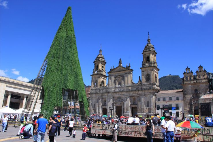 Giant Christmas tree under construction in Bogota's Plaza Simon Bolivar